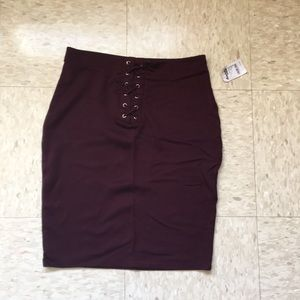 NWT Lace Up Bodycon Skirt